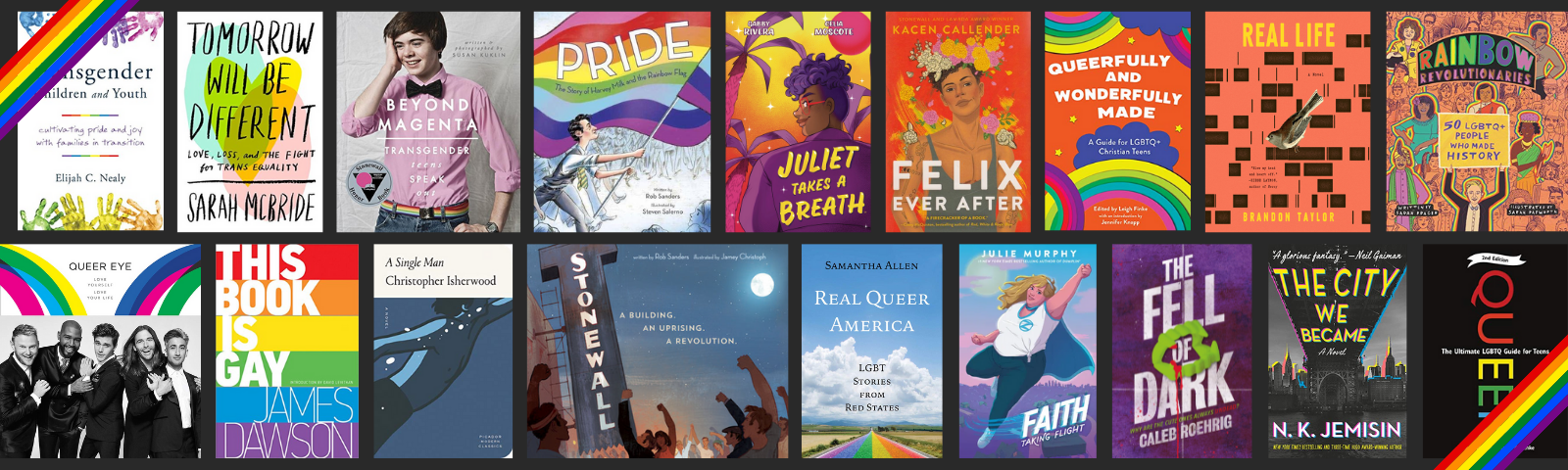 A rainbow banner with 18 book covers featuring LGBTQ+ authors and characters. keep reading for complete booklists.